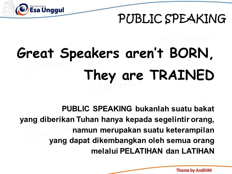 Great Speakers aren't BORN, They are TRAINED
