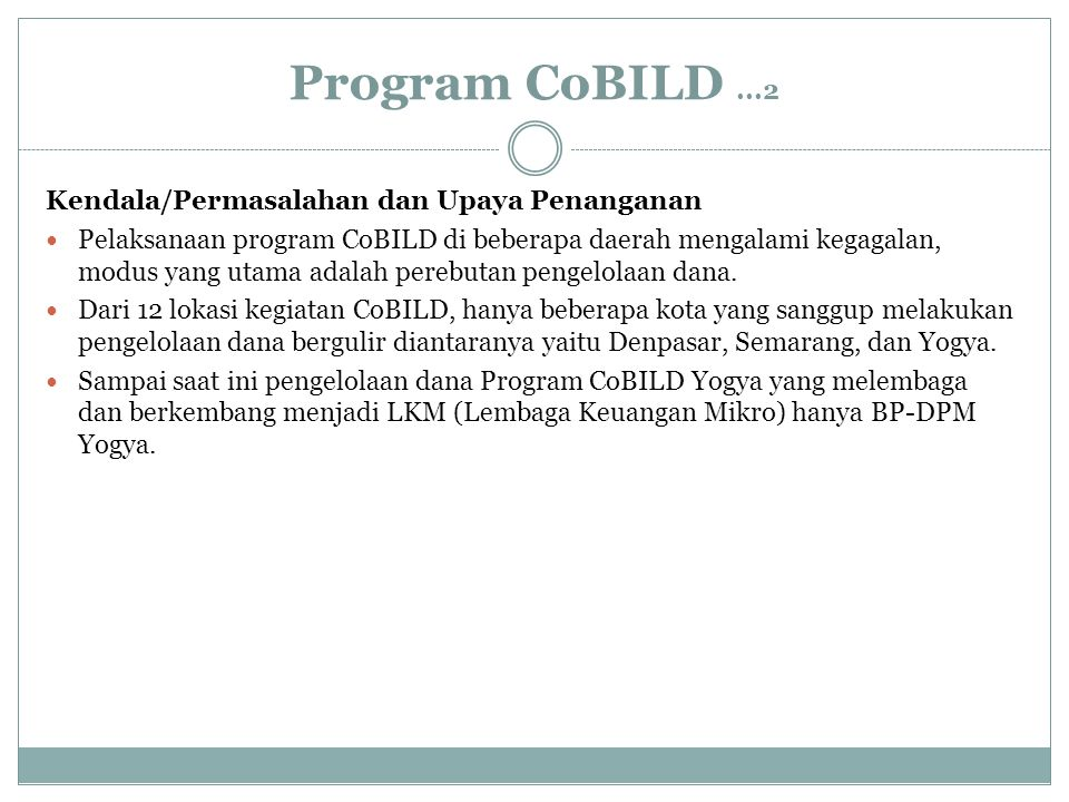 Program CoBILD ...2 Kendala/Permasalahan dan Upaya Penanganan