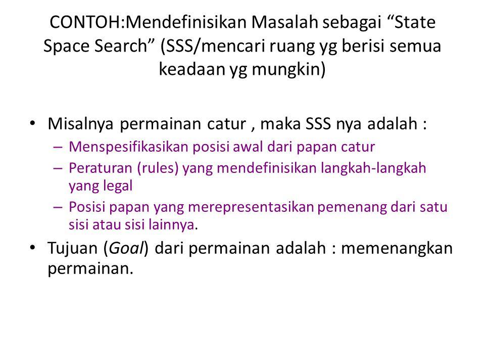 CONTOH:Mendefinisikan Masalah sebagai State Space Search (SSS/mencari ruang yg berisi semua keadaan yg mungkin)