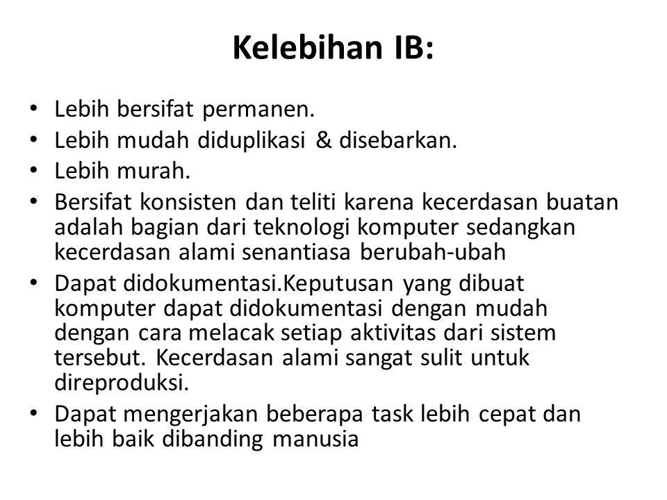 Kelebihan IB: Lebih bersifat permanen.