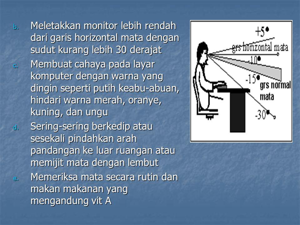 Meletakkan monitor lebih rendah dari garis horizontal mata dengan sudut kurang lebih 30 derajat