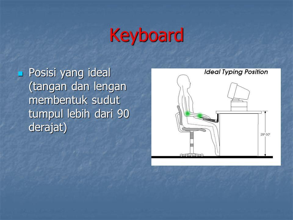 Keyboard Posisi yang ideal (tangan dan lengan membentuk sudut tumpul lebih dari 90 derajat)