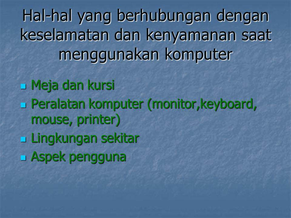Hal-hal yang berhubungan dengan keselamatan dan kenyamanan saat menggunakan komputer