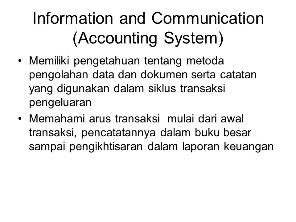 Information and Communication (Accounting System)