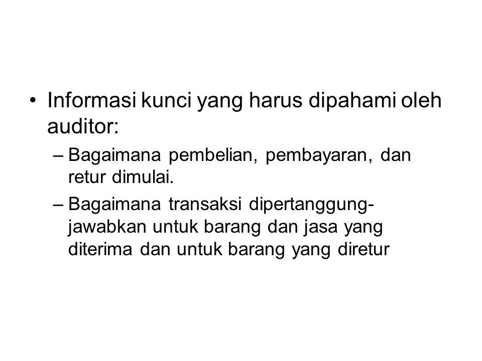 Informasi kunci yang harus dipahami oleh auditor: