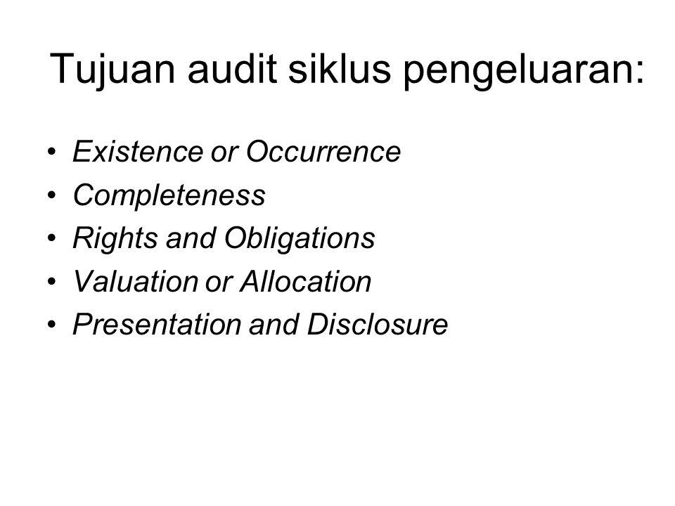 Tujuan audit siklus pengeluaran: