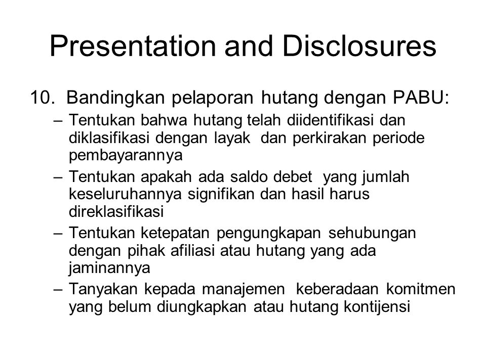 Presentation and Disclosures