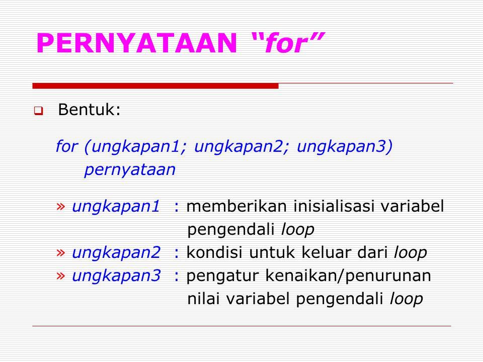 PERNYATAAN for Bentuk: for (ungkapan1; ungkapan2; ungkapan3)