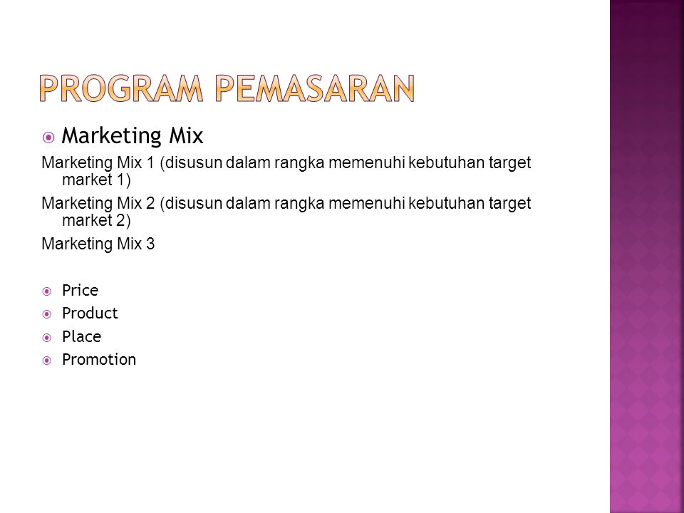 Program pemasaran Marketing Mix