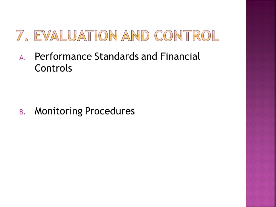 7. Evaluation and Control