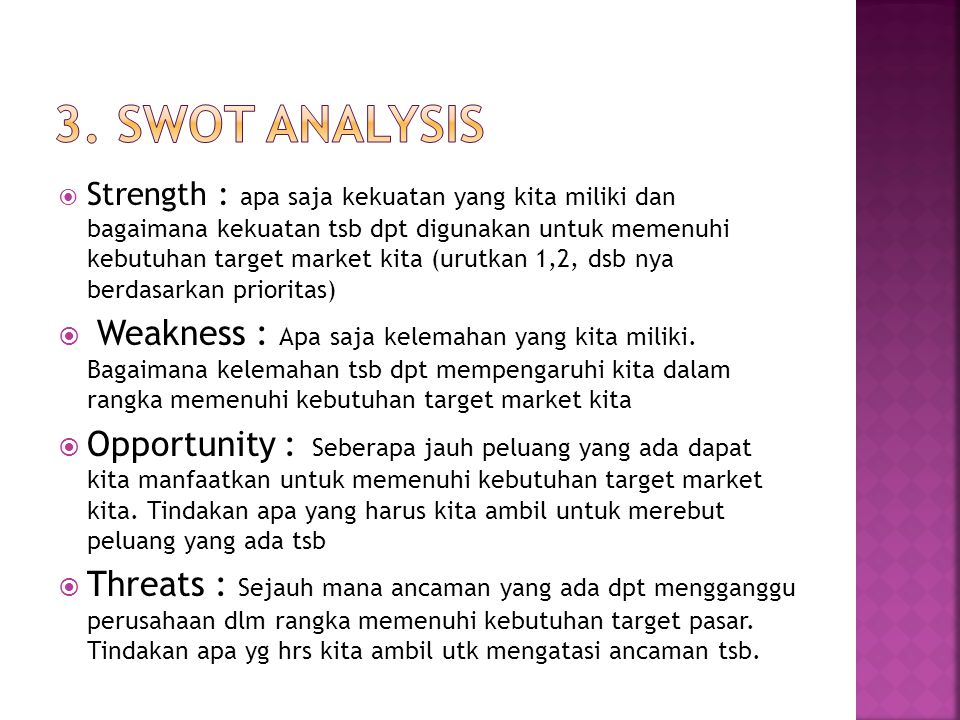 3. SWOT analysis