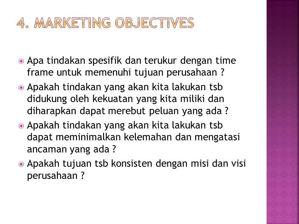 4. Marketing Objectives Apa tindakan spesifik dan terukur dengan time frame untuk memenuhi tujuan perusahaan