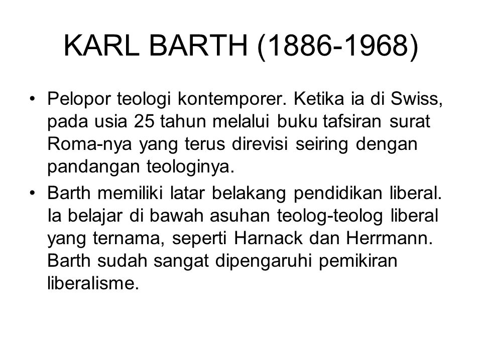 KARL BARTH (1886-1968)