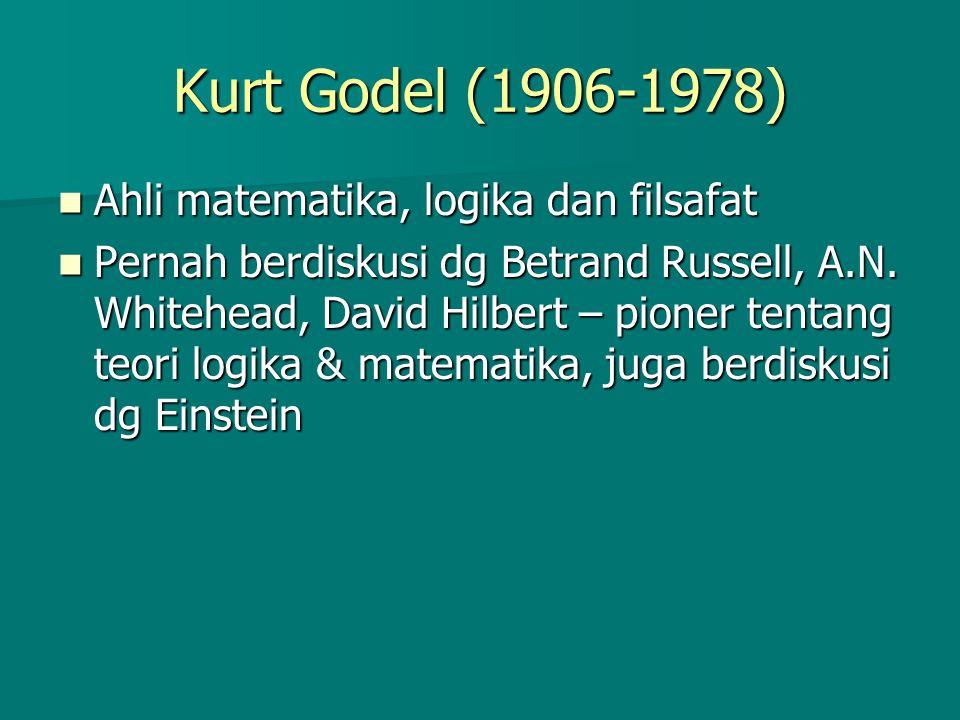 Kurt Godel (1906-1978) Ahli matematika, logika dan filsafat