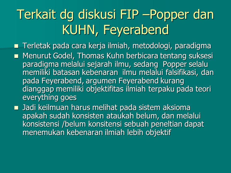 Terkait dg diskusi FIP –Popper dan KUHN, Feyerabend