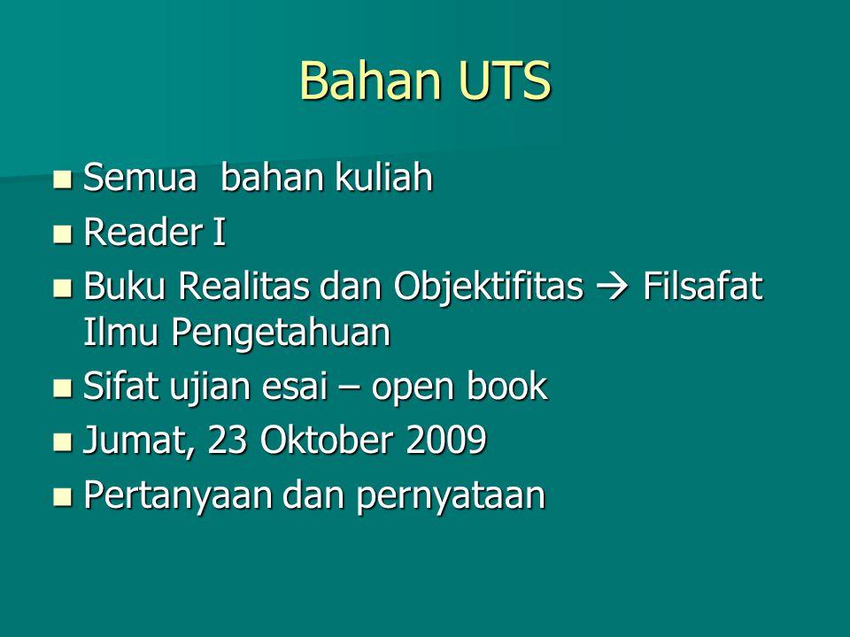 Bahan UTS Semua bahan kuliah Reader I