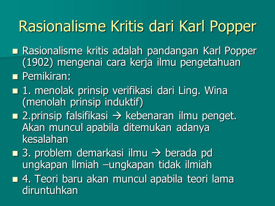 Rasionalisme Kritis dari Karl Popper