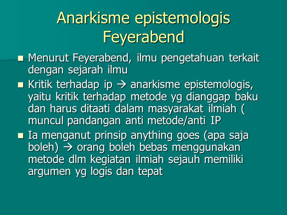 Anarkisme epistemologis Feyerabend