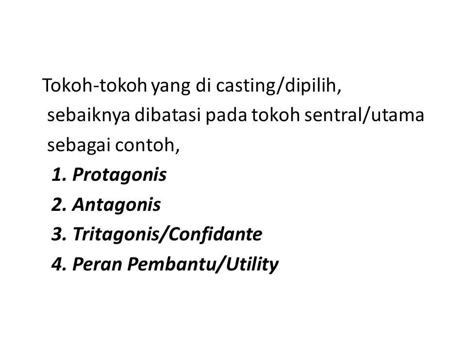 Tokoh-tokoh yang di casting/dipilih, sebaiknya dibatasi pada tokoh sentral/utama sebagai contoh, 1.