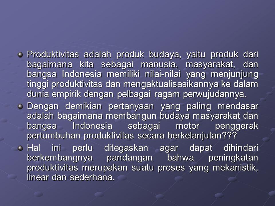 Produktivitas adalah produk budaya, yaitu produk dari bagaimana kita sebagai manusia, masyarakat, dan bangsa Indonesia memiliki nilai-nilai yang menjunjung tinggi produktivitas dan mengaktualisasikannya ke dalam dunia empirik dengan pelbagai ragam perwujudannya.