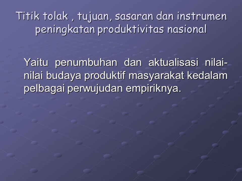 Titik tolak , tujuan, sasaran dan instrumen peningkatan produktivitas nasional