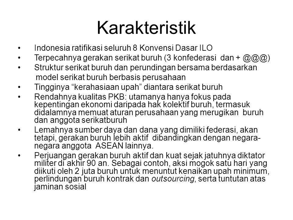 Karakteristik Indonesia ratifikasi seluruh 8 Konvensi Dasar ILO