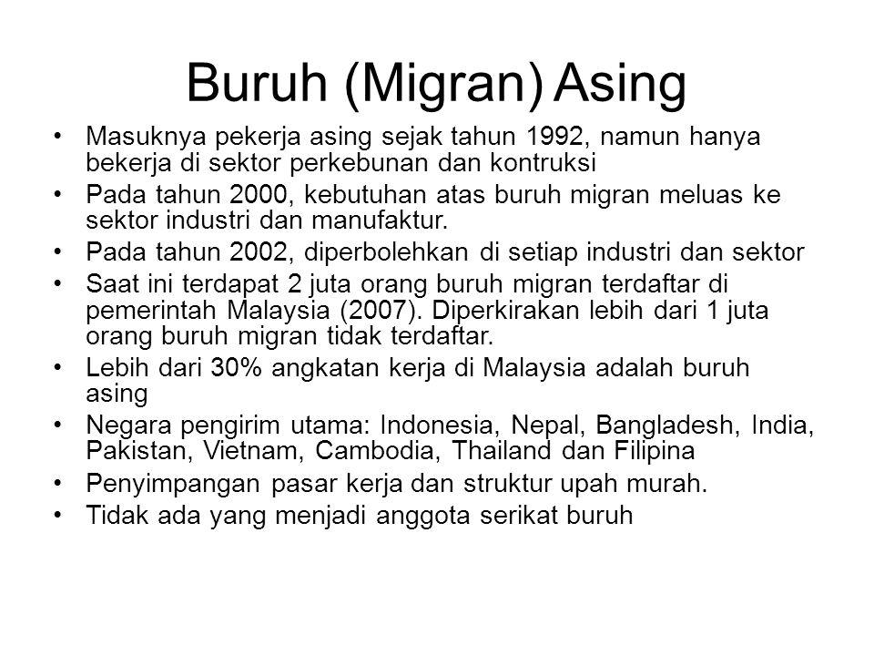 Buruh (Migran) Asing Masuknya pekerja asing sejak tahun 1992, namun hanya bekerja di sektor perkebunan dan kontruksi.