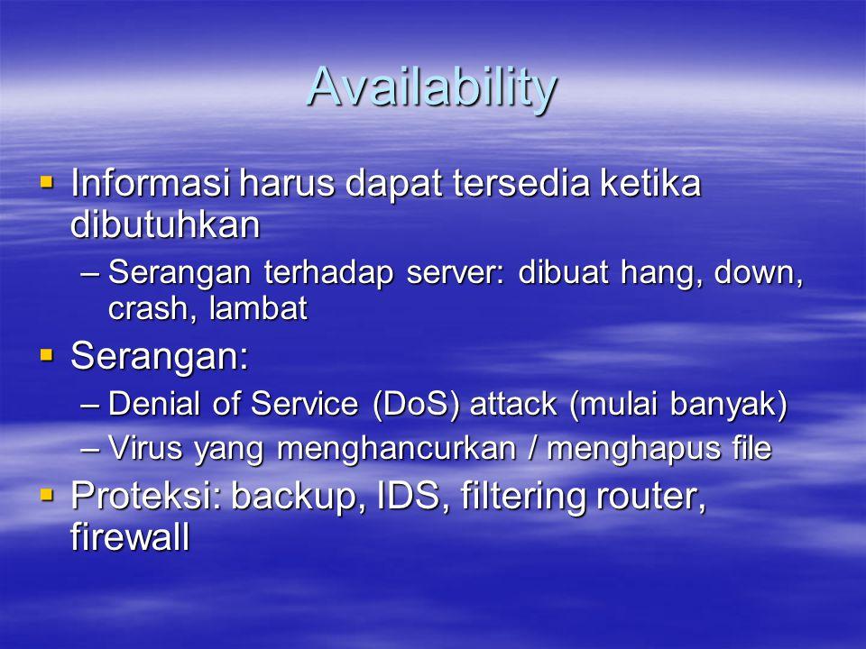Availability Informasi harus dapat tersedia ketika dibutuhkan