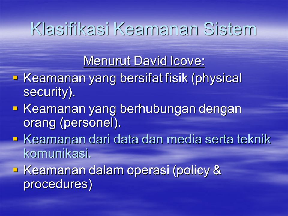 Klasifikasi Keamanan Sistem