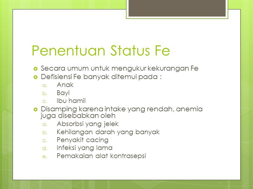 Penentuan Status Fe Secara umum untuk mengukur kekurangan Fe