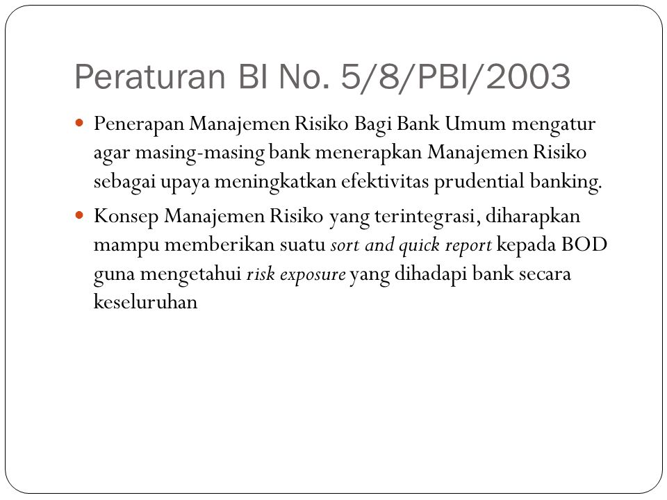 Peraturan BI No. 5/8/PBI/2003