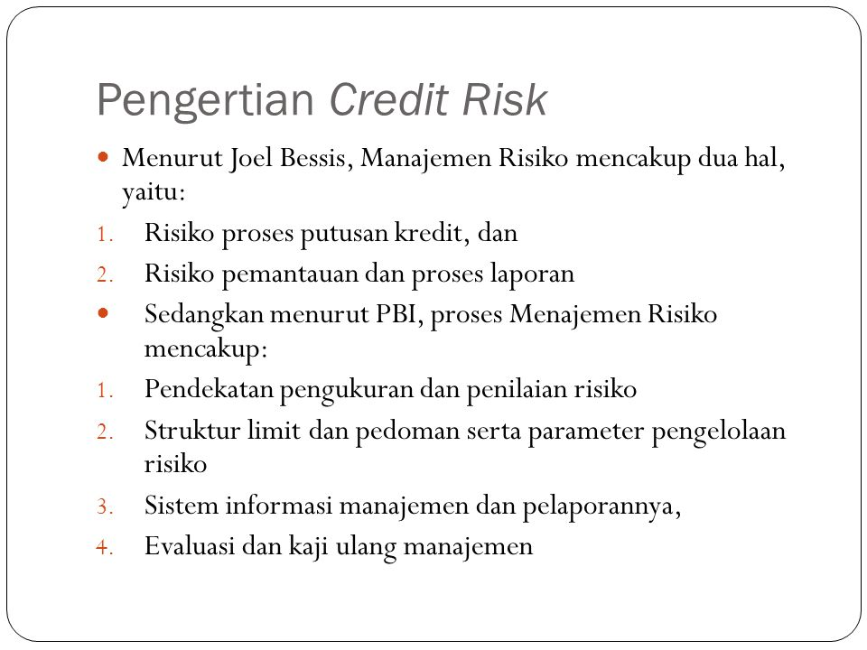 Pengertian Credit Risk
