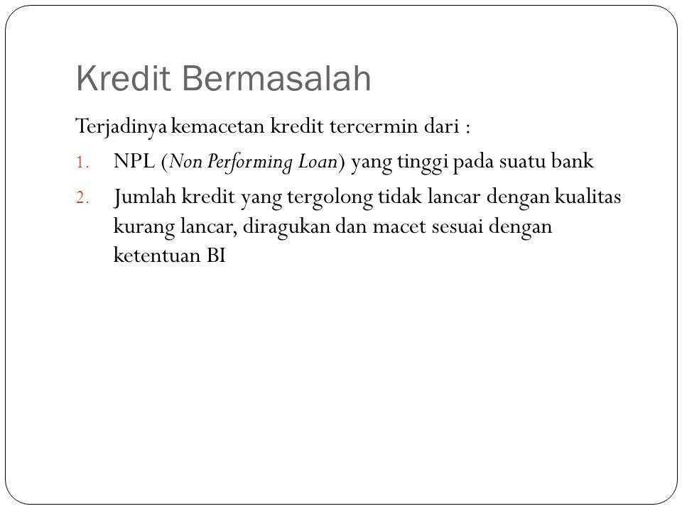 Kredit Bermasalah Terjadinya kemacetan kredit tercermin dari :