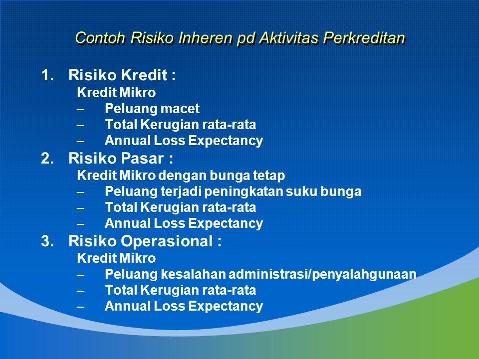Contoh Risiko Inheren pd Aktivitas Perkreditan