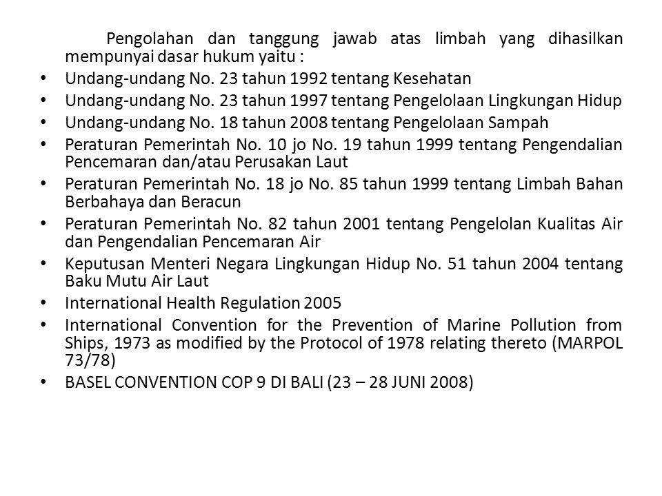 Pengolahan dan tanggung jawab atas limbah yang dihasilkan mempunyai dasar hukum yaitu :