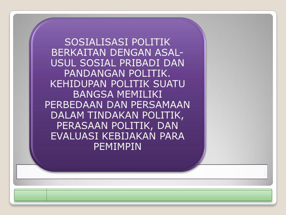 SOSIALISASI POLITIK BERKAITAN DENGAN ASAL-USUL SOSIAL PRIBADI DAN PANDANGAN POLITIK.