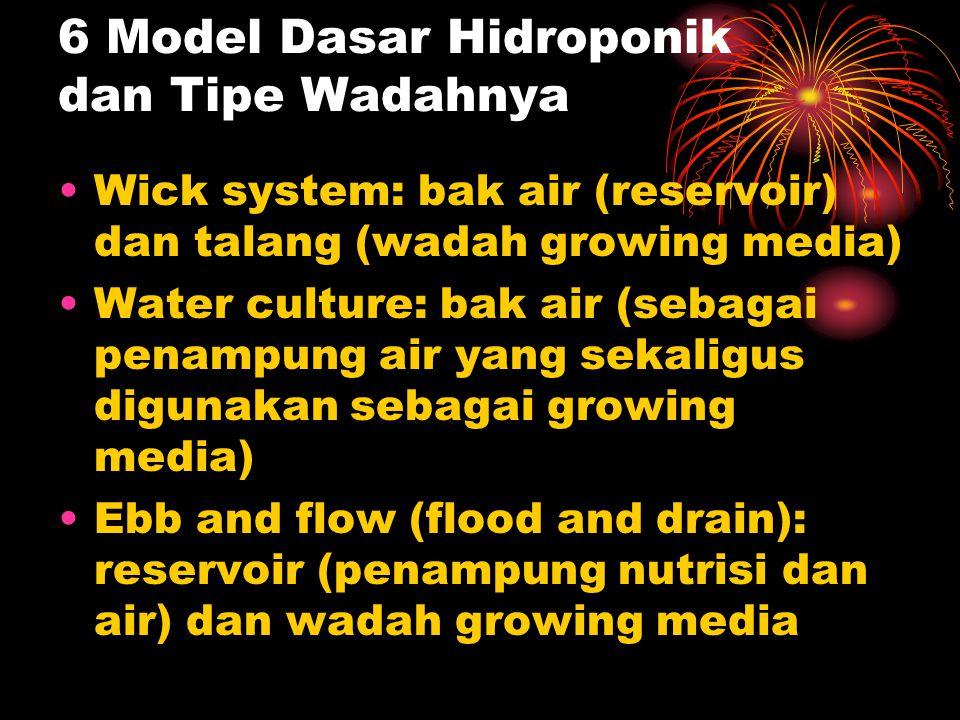 6 Model Dasar Hidroponik dan Tipe Wadahnya