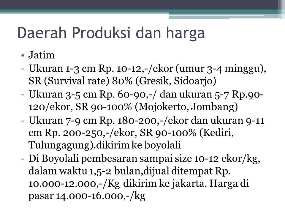 Daerah Produksi dan harga