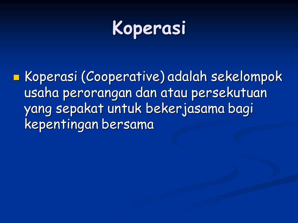 Koperasi Koperasi (Cooperative) adalah sekelompok usaha perorangan dan atau persekutuan yang sepakat untuk bekerjasama bagi kepentingan bersama.