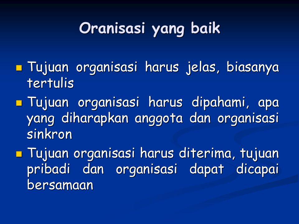 Oranisasi yang baik Tujuan organisasi harus jelas, biasanya tertulis