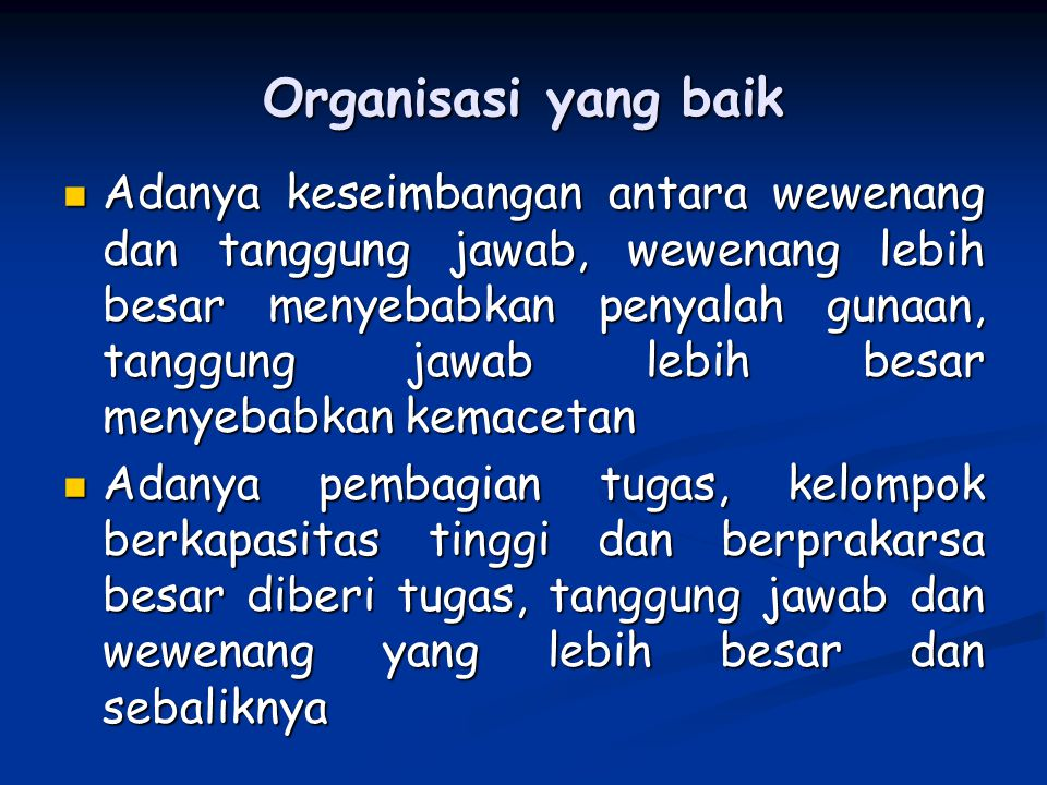Organisasi yang baik
