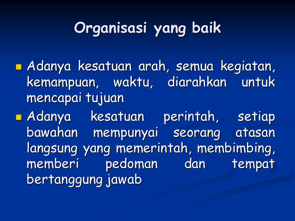 Organisasi yang baik Adanya kesatuan arah, semua kegiatan, kemampuan, waktu, diarahkan untuk mencapai tujuan.