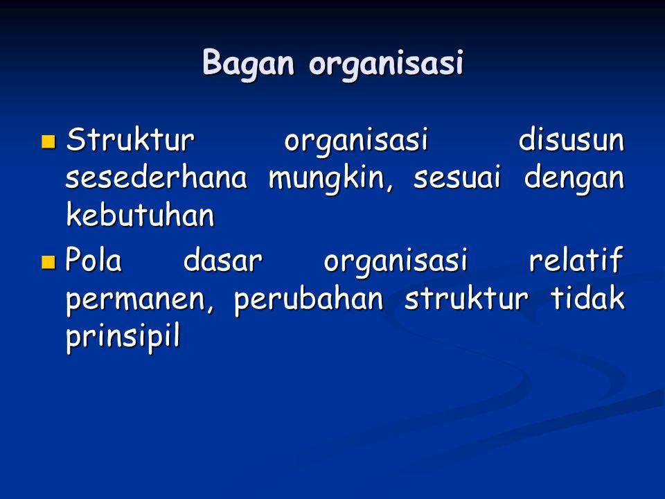 Bagan organisasi Struktur organisasi disusun sesederhana mungkin, sesuai dengan kebutuhan.