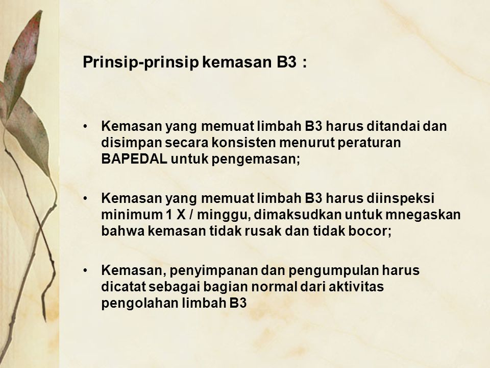 Prinsip-prinsip kemasan B3 :
