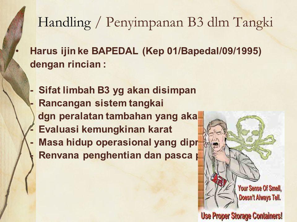 Handling / Penyimpanan B3 dlm Tangki