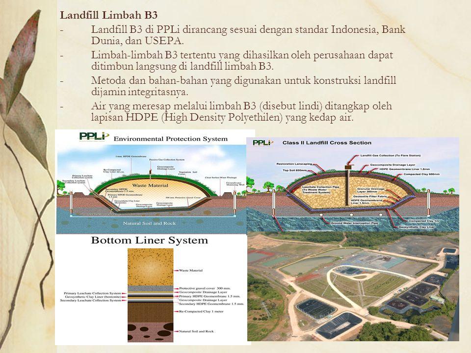 Landfill Limbah B3 Landfill B3 di PPLi dirancang sesuai dengan standar Indonesia, Bank Dunia, dan USEPA.