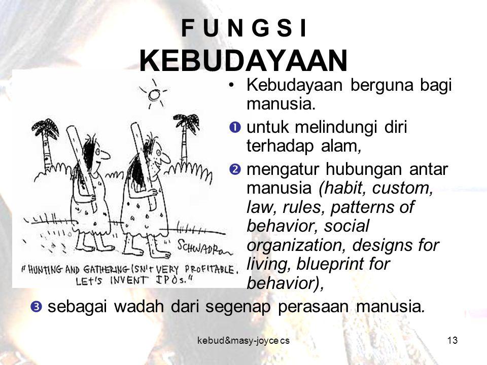 F U N G S I KEBUDAYAAN Kebudayaan berguna bagi manusia.