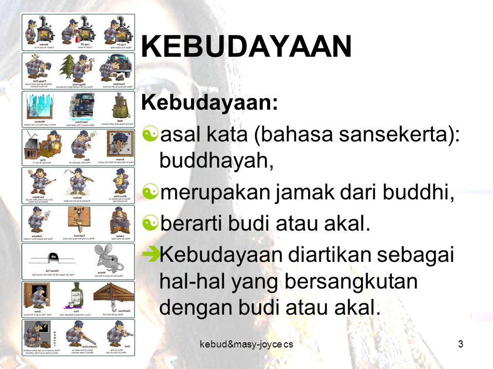 KEBUDAYAAN Kebudayaan: asal kata (bahasa sansekerta): buddhayah,