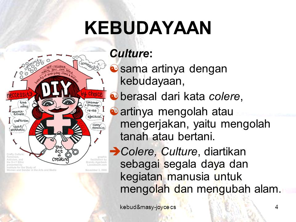 KEBUDAYAAN Culture: sama artinya dengan kebudayaan,