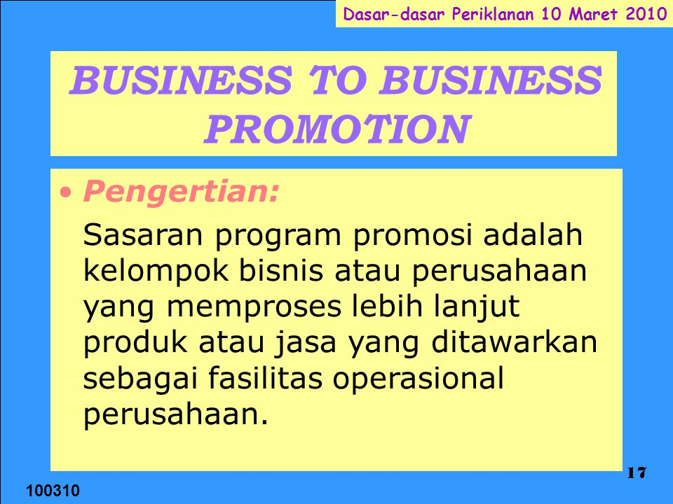 BUSINESS TO BUSINESS PROMOTION